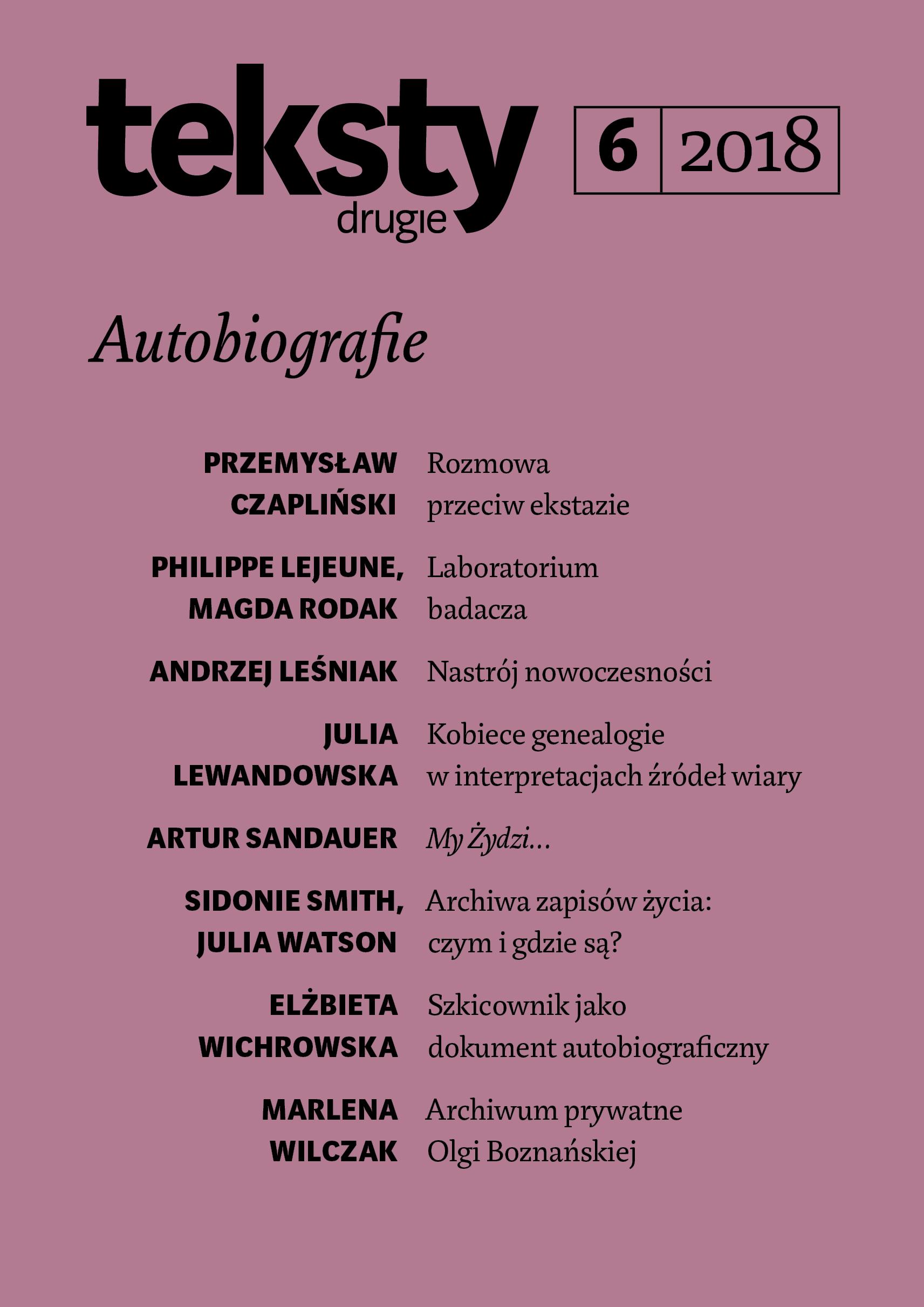 Autobiografie Teksty Drugie Teoria Literatury Krytyka